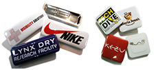 Choose from a funky rectangle or square button badge...